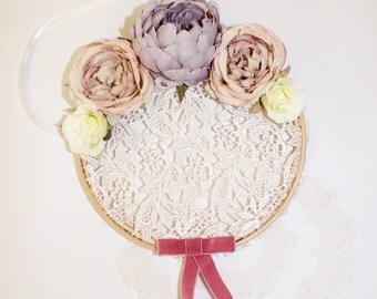 Corded ivory lace vintage hoop