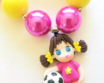 Soccer Girl, Necklace, Polymer Clay, Pendant, Summer Fun, Chunky Bubblegum, Girls, Soccer Ball, Cutie, Pigtails, Polymer Clay Art
