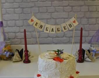 Mini Bunting, Engaged Cake Topper, Burlap Cake Bunting, Rustic Burlap Cake Banner, Cake topper, Proposal, Valentine's, Engagement