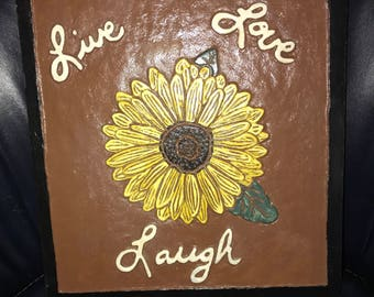 Live Love Laugh Sunflower carving .