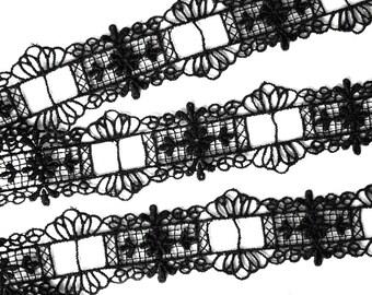 1m lace black 3cm through thread bar