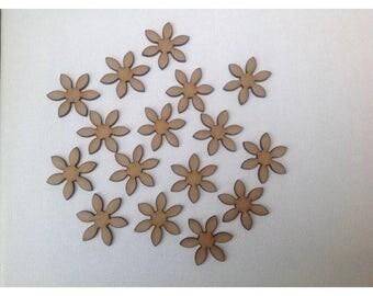 50 x Wooden Flower Embellishments