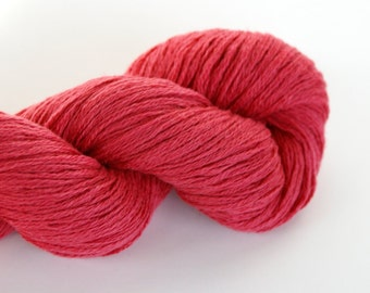 Cotton-Viscose-Wool Blend Watermelon Worsted Weight Recycled Yarn