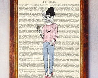 Female Hipster Cat Art Print, Cat Wall Art, Book Art Cat Print, Animal Print, Cat Artwork, Cat Poster, Digital Download