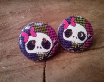 Earring 2 holes, button wood, head of skeletons and guitar, nail, hypoallergenic