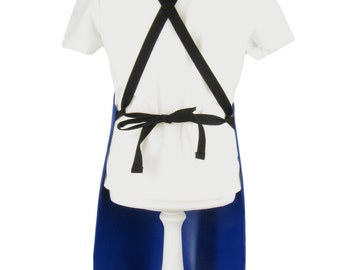 PVC bib apron for schools. 520 gsm FR PVC aprons with cross over ties