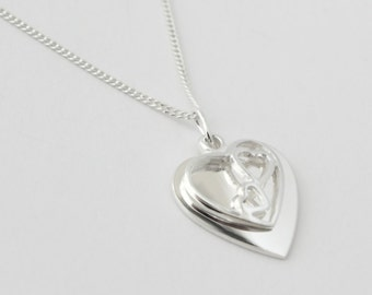 925 Sterling Silver Duo Heart Necklace with Personalised Engraving, Includes Gift Box & Free Shipping
