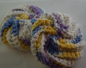 Face Scrubbies Set - Purple, Yellow, Blue, and White