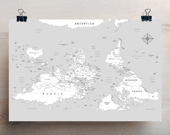 South is Up Large World Map - 36 x 24 inches ( 91 x 61 mm)