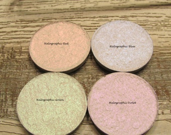 Halographic Collection, Color shifting Red Blue Green Violet, Vegan and Cruelty Free, natural mineral pigment 10 g jars w/3 g total each