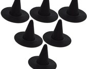 "6"" Black Mini Flocked Felt Witch Hats - 6 PACK"