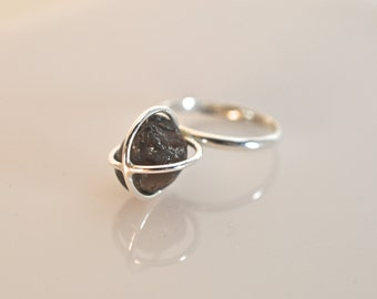 Sterling Silver Cage and Apache Tear Ring