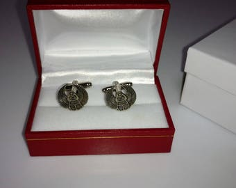 Sterling Silver Egyptian Scarab Cuff Links