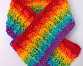 Crochet Rainbow scarf, Rainbow scarf, LGBT Pride scarf, LGBT colours, Crochet Rainbow scarf, gay Rainbow scarf, Gay pride Rainbow colours