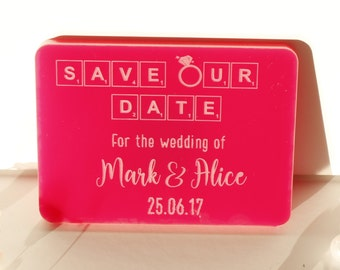 Rectangle Save Our Date Magnets | Pink