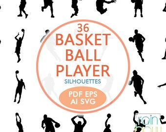 Basketball Player Svg Files, Basketball Player Silhouettes, Basketball Svg, Basketball Clipart, Basketball Sign, Sportsman Clipart, Eps File