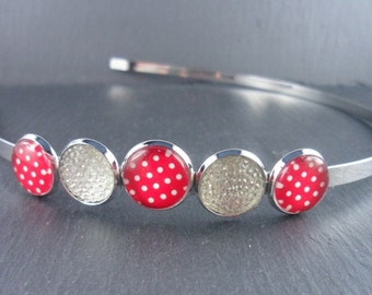 decorated headband, Harreif, hair jewelry, dots, Rockabilly, vintage style, cabochons