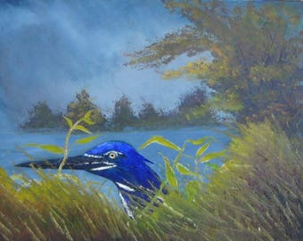 Heron in Grass Dancingbranchpaintings