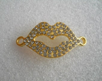 """Connector for creating jewelry - shape """"mouth"""" - gold metal and rhinestones"""