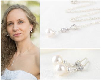 Pearl Bridal Jewelry Set Wedding Jewelry Sets Bridal Necklace and Earring Set Bridal Jewelry Silver Necklace Wedding Set