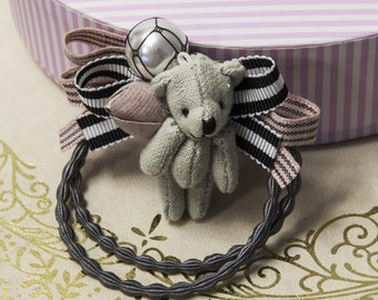 Teddy Bear Elastic Hair Tie with Ribbon bowtie ,Band Ring Ponytail Holder Accessory (6006)