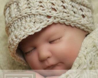 CROCHET PDF PATTERN: Newborn Newsboy with Braid Trim baby hat photo prop