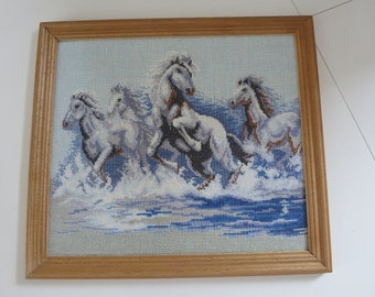 Vintage Needlework of White Horses in the Sea Running Hourses