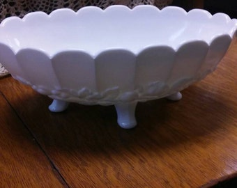 Milk glass fruit bowl