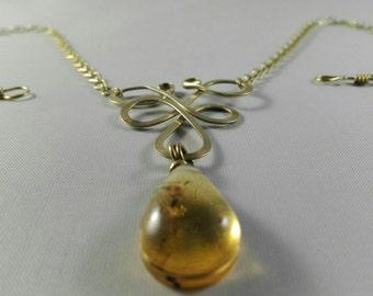 Brass Wineberry Necklace Ambar