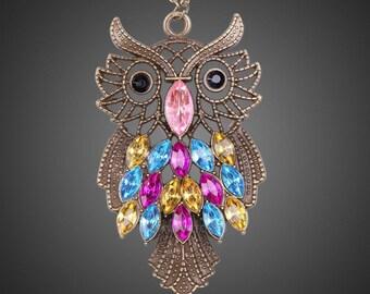 Womens Vintage Rhinestone Owl Pendant Long Chain Necklace Fashion Jewelry hv2n