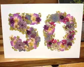 No 50, Blank Card, 50th Anniversary Card,  Mom 50th Anniversary, Nan 50th Anniversary, Cards for Gardeners, English Pressed Flower PRINT