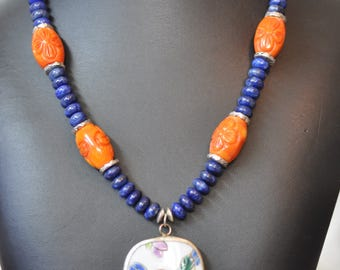 Lapis,  Green turquoise, and carved Coral, pottery shard necklace and earrings
