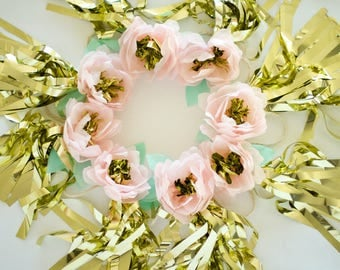 Pink and Gold Flowers with Gold Tassels