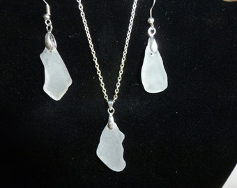 White Sea Glass necklace and earring set in silver