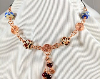 Copper Spiral Pendant Necklace with Lampwork Beads