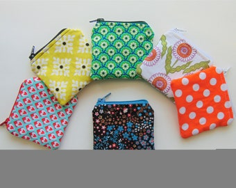Fabric coin purses with zipper