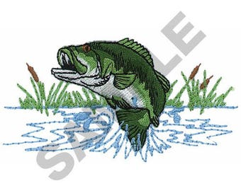 Jumping Bass - Machine Embroidery Design