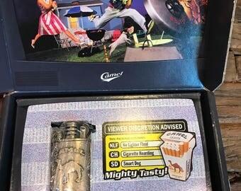 Never used vintage collectible advertising Joe Camel metal cigarette lighter in original box