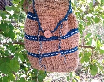 100% organic hemp crochet backpack