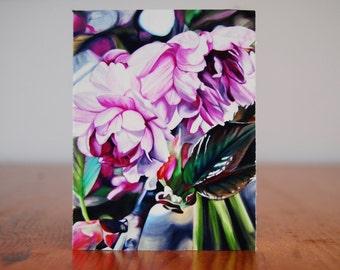 "print of original painting ""fulfillment 2"", 3x4"", apple blossoms, botanical , pink flower, realism, macro, home decor"