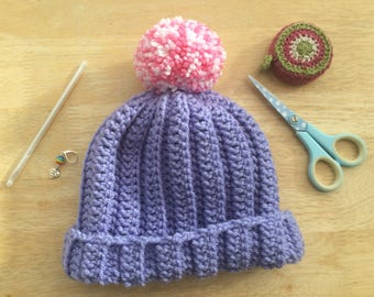 Girls Pompom hat,  1-2 Years pompom hat, Chunky Pompom Hat, crochet pompom hat, bobble hat, toddler bobble hat, purple girls hat, lilac hat