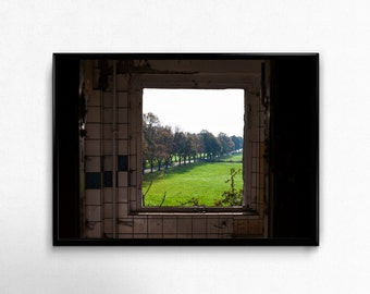 view out of the window, Lost Place Photo, Photoprint, Art, Printart - Poster, Acrylic, PVC foamboard, canvas print