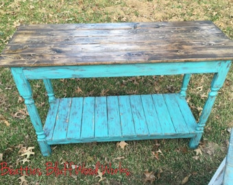 Distressed Turquiose Blue Entryway Table| Sofa Table| Foyer Table