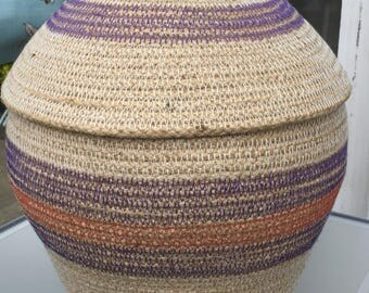 Natural rope basket with lid and glass bead detail