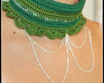 Necklace Victorian Boho Chic cotton crochet Spring & Summer - Green