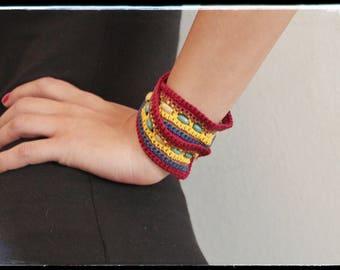 Bracelet cotton crochet Boho Chic Spring & Summer - Bordeaux