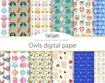 Owls digital paper, commercial use, scrapbook papers, background DG57