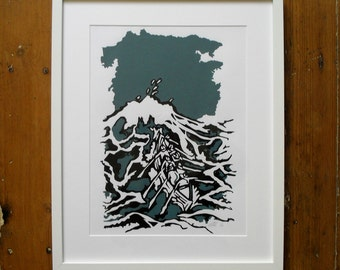 Breaking Wave - A3 Limited Edition Screen Print Sea Print