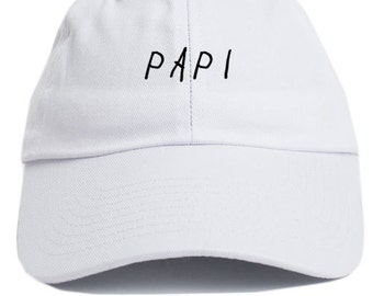 Papi White Unstructured Baseball Dad Hat Cap New