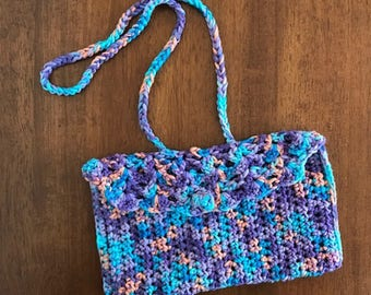 Crocheted Clutch with Strap, Free Shipping, Crocheted Purse, Small Crocheted Purse, Crocheted Clutch with Matching Beanie
